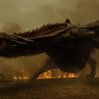 Daenerys Targaryen (Emilia Clarke) on Drogon in Game of Thrones Season 7