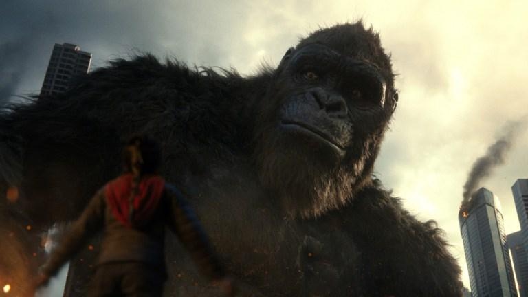 Kong stares at a puny human in Godzilla vs. Kong