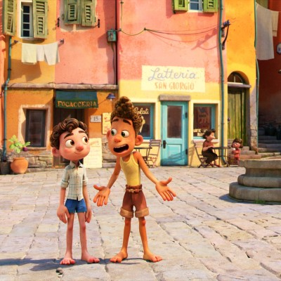 Luca and Alberto in the village in Luca