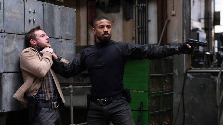 Michael B Jordan chokes Jamie Bell in Tom Clancy's Without Remorse