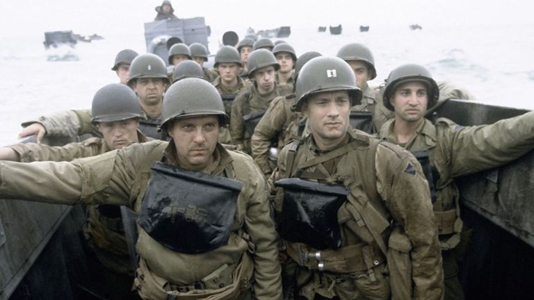 Tom Hanks and Tom Sizemore in D-Day boat in Saving Private Ryan
