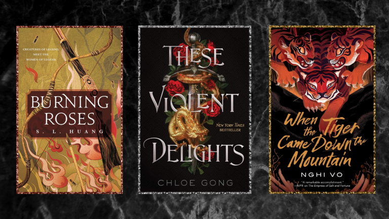 The book covers for Burning Roses, These Violent Delights, and When the Tiger Came Down the Mountain