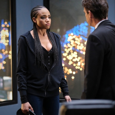 Meagan Tandy as Sophie Moore and Dougray Scott as Commander Jacob Kane in Batwoman Season 2