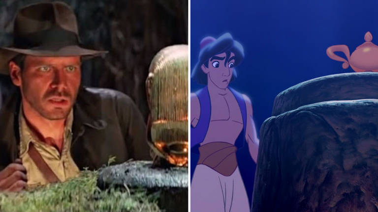 Indiana Jones goes for the golden idol, while Aladdin goes for the golden lamp