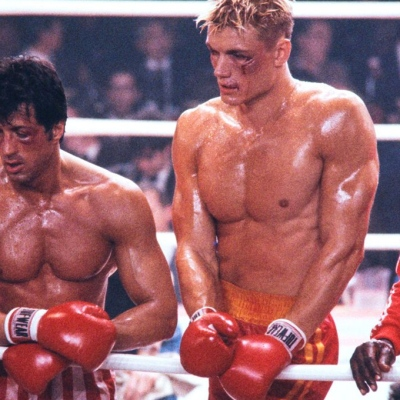 Rocky IV: Sylvester Stallone and Dolph Lundgren.
