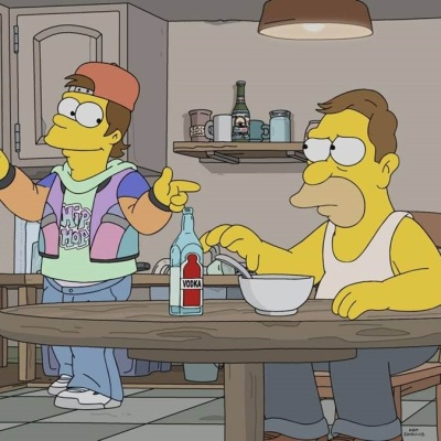 A younger Homer Simpson in The Simpsons season 32 episode 15
