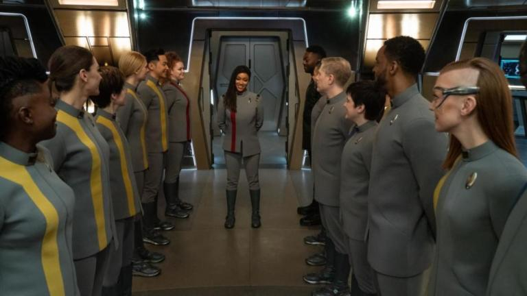 The crew of the Discovery looks to Captain Michael Burnham