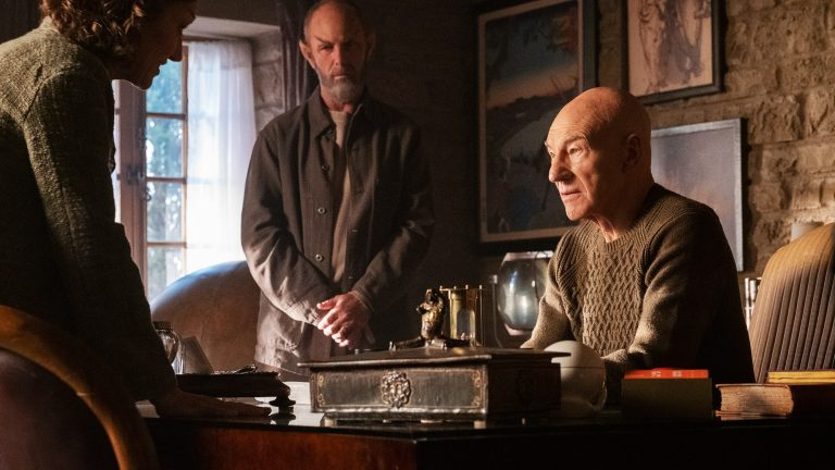 Jean-Luc Picard sits in his study in Star Trek: Picard