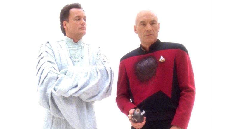 "John de Lancie as Q, Patrick Stewart as Picard in Star Trek: The Next Generation, ""Tapestry."""