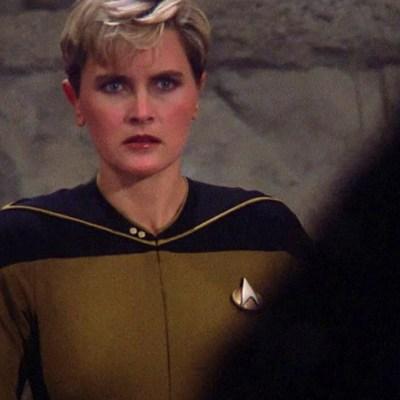 "Denise Crosby as Tasha Yar in Star Trek: The Next Generation, ""Skin of Evil."""