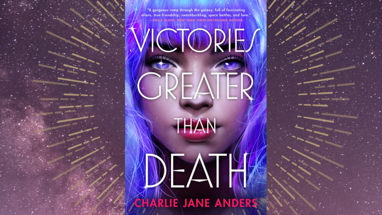 A book cover featuring a girl with blue hair is in the center of a space background