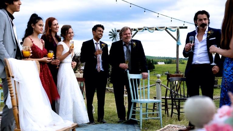 The cast of Wynonna Earp at the Wayhaught wedding