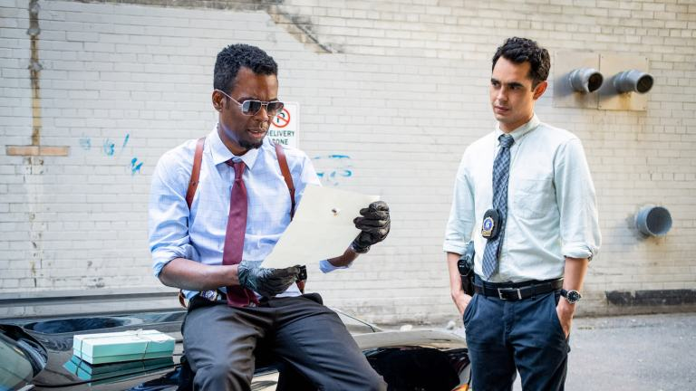 Chris Rock and Max Minghella in Spiral From the Book of Saw