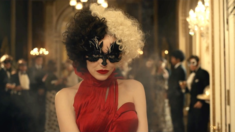 Emma Stone as Cruella de Vil at masked party