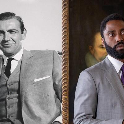 Sean Connery in Goldfinger and John David Washington in Tenet