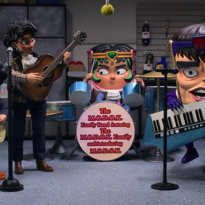 MODOK's family in a family band on Hulu's MODOK