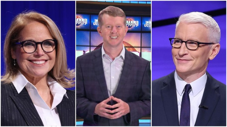 Katie Couric, Ken Jennings, and Anderson Cooper as Jeopardy! Hosts