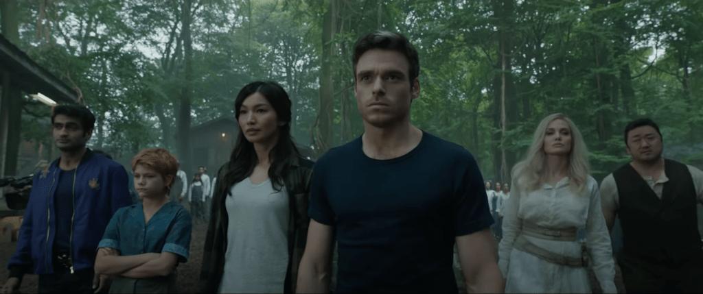 Marvel's Eternals - Gemma Chan as Sersi, Richard Madden as Ikaris, Kumail Nanjian as Kingo, Angelina Jolie as Thena, Don Lee (Ma Dong-seok) as Gilgamesh
