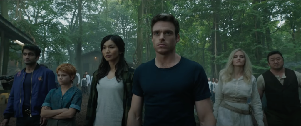 Marvel's Eternals - Gemma Chan as Sersi, Richard Madden as Ikaris, Kumail Nanjian as Kingo, Angelina Jolie as Thena, Don Lee (Ma Dong-seok) as Gilgamesh