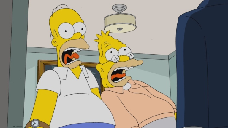 Homer and Abe Simpson in The Simpsons Season 32 Episode 21