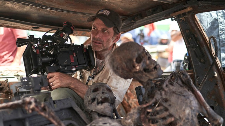 Zack Snyder and zombie corpse in Army of the Dead
