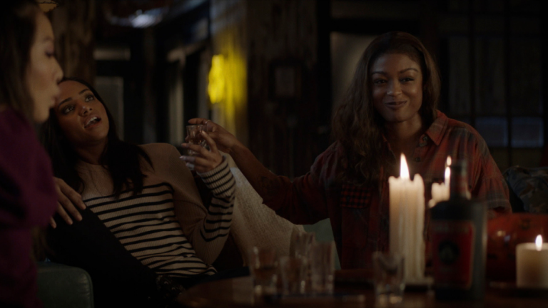 Nicole Kang as Mary Hamilton, Meagan Tandy as Sophie Moore, and Javicia Leslie as Ryan Wilder in Batwoman