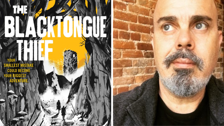 The book cover for The Blacktongue Thief and a photo of author Christopher Buehlman