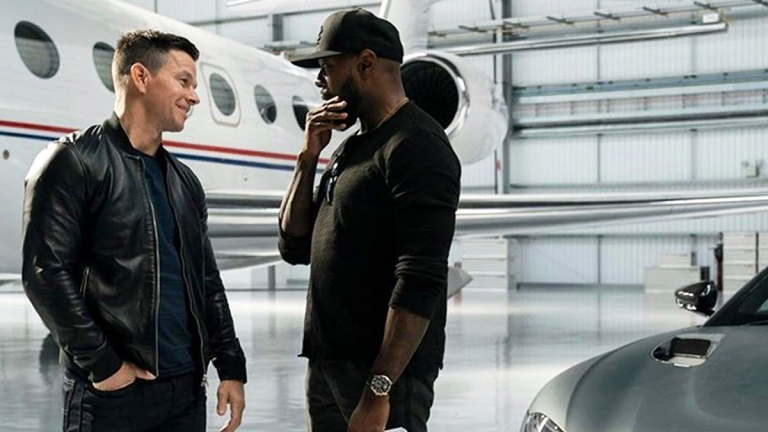 Mark Wahlberg and Antoine Fuqua on the Infinite set.