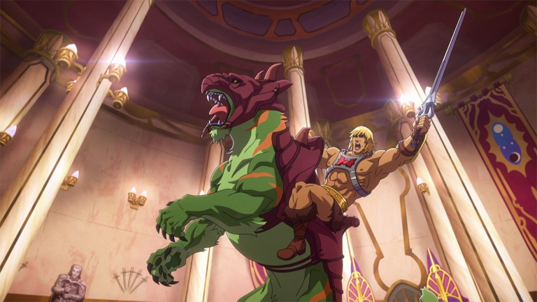 He-Man on Battle Cat in Masters of the Universe: Revelation.