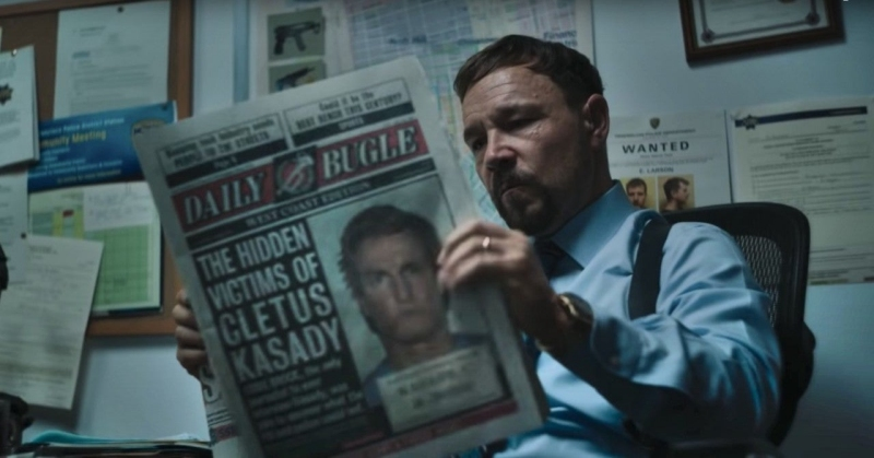 Mulligan reading the Daily Bugle in Venom: Let There Be Carnage