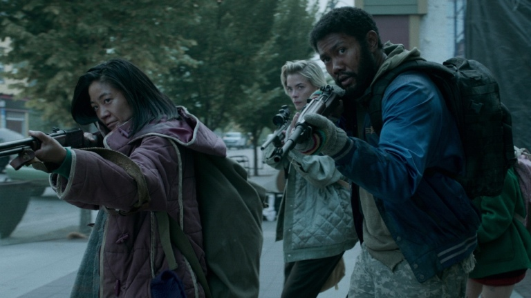CHRISTINE LEE as KYUNGSUN, JAIME KING as ROSE, and JUSTIN CHU CARY as SPEARS in episode 202 of BLACK SUMMER