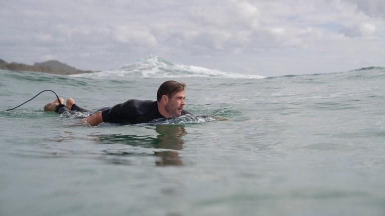 Chris Hemsworth surfing on Shark Beach with Chris Hemsworth
