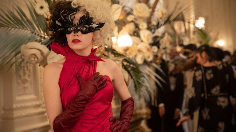 Emma Stone as Cruella in mask