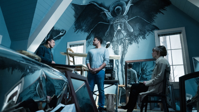 Aasif Mandvi as Ben Shakir, Brandon Dirden as Raymond Strand and Katja Herbers as Kristen Bouchard of the Paramount+ series EVIL