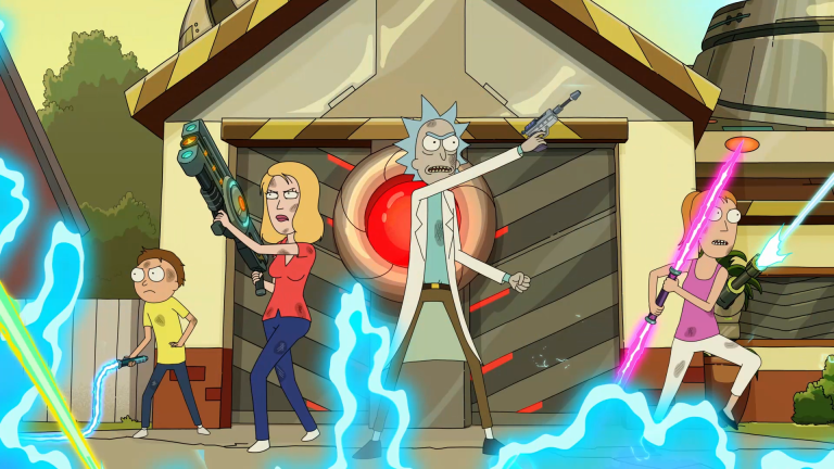 Morty, Beth, Rick, and Summer battle foes in Rick and Morty