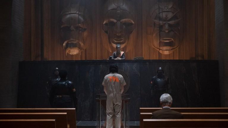 Judge Renslayer (Gugu Mbatha-Raw), Hunter B-15 (Wunmi Mosaku), Loki (TomHiddleston) and Mobius (Owen Wilson) in Marvel Studios' LOKI