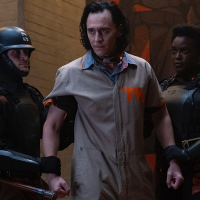 Loki (Tom Hiddleston) in the clutches of the TVA in Loki (2021)