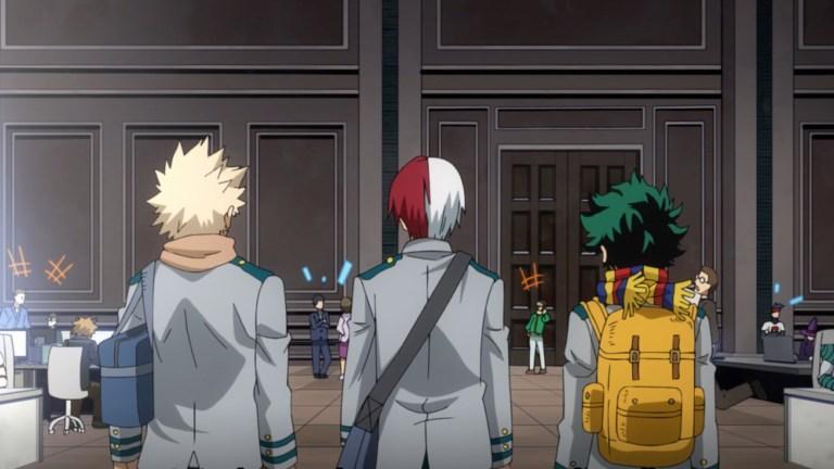 Midoriya, Bakugo, and Shoto in My Hero Academia