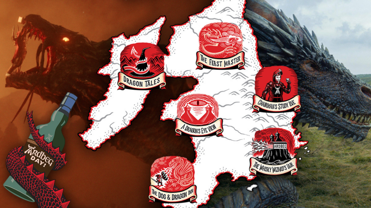 An Ardberg Scotch map of Scotland, bookended by on-screen dragons