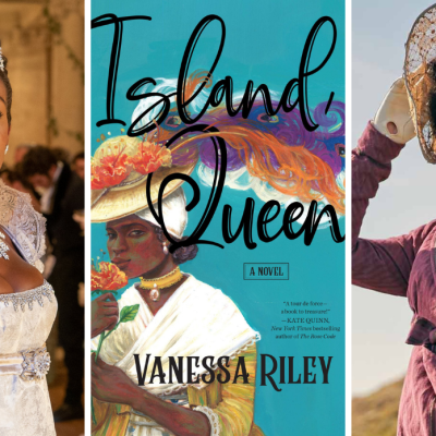 Lady Danbury in Bridgerton, the book cover for Island Queen, and Georgiana from Sanditon
