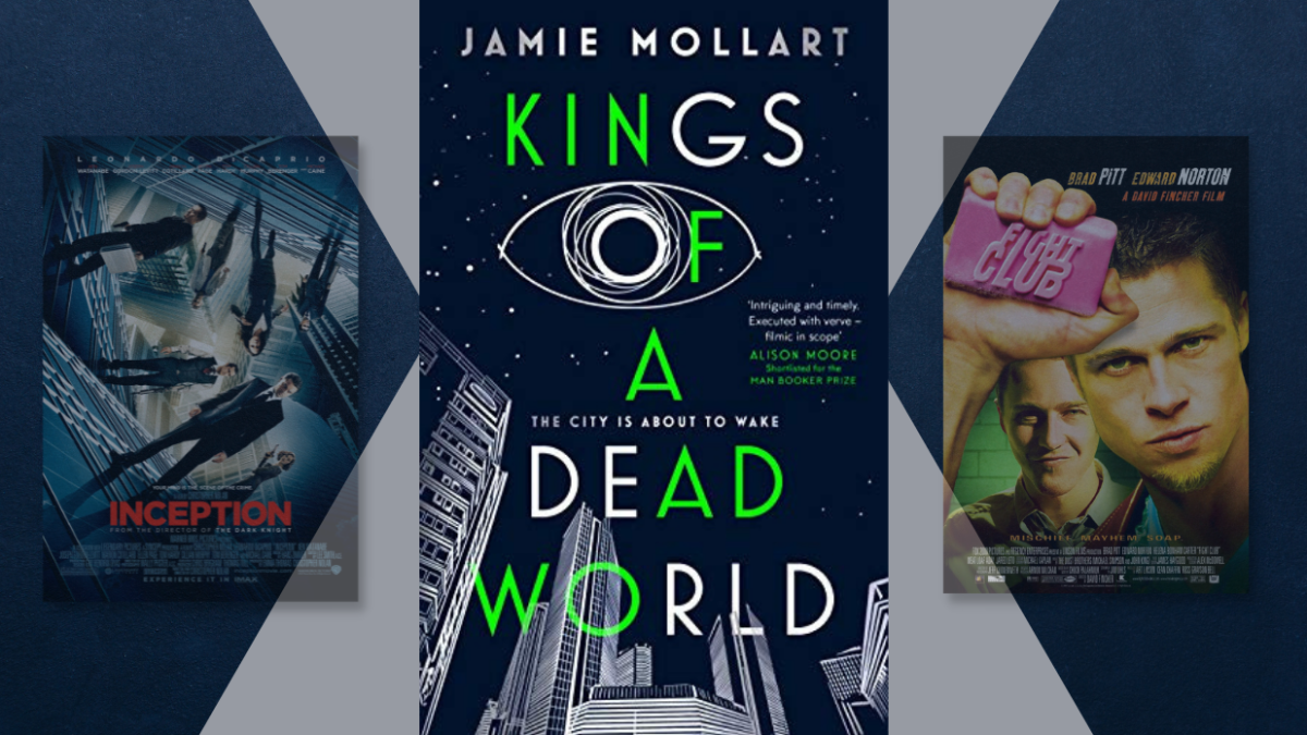 Posters for Inception and Fight Club, and the book cover for Kings of a Dead World