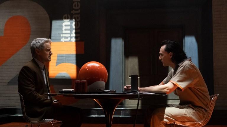 Owen Wilson as Mobius and Tom Hiddleston as Loki in Marvel's Loki Episode 1