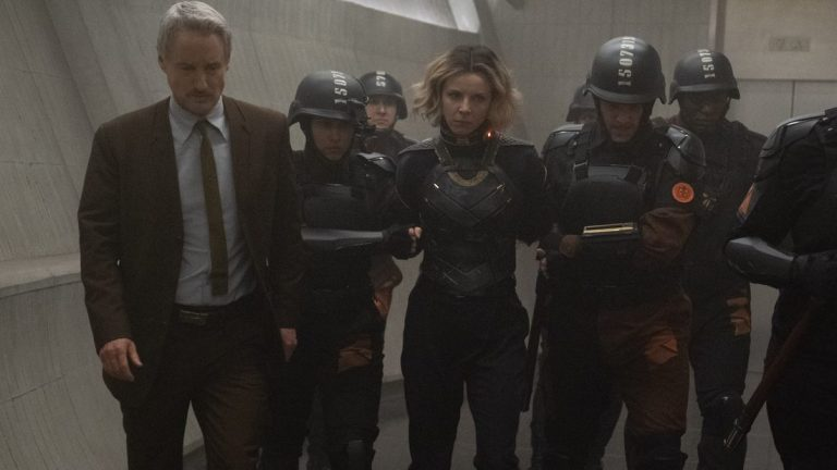 Mobius (Owen Wilson) and (center): Sylvie (Sophia Di Martino) in Marvel Studios' LOKI