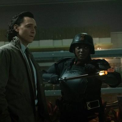 Tom Hiddleston As Loki And Wunmi Mosaku As Hunter B-15 In Marvel's Loki