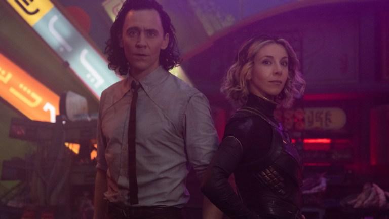 Tom Hiddleston and Sophia Di Martino in Marvel's Loki Episode 3