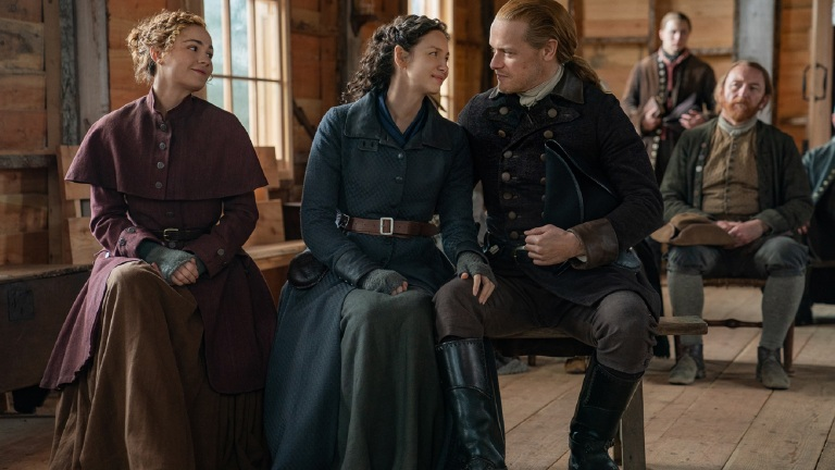 Brianna, Claire, and Jamie in Outlander Season 6