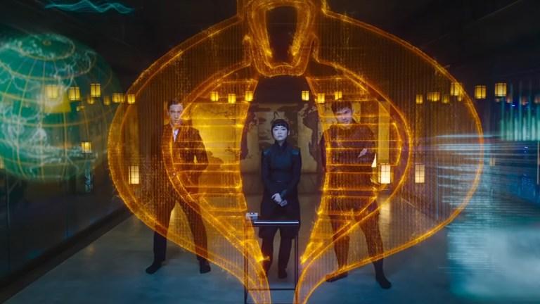 Cobra symbol, Storm Shadow, Akiko and Snake Eyes in Snake Eyes G.I. Joe Origins.