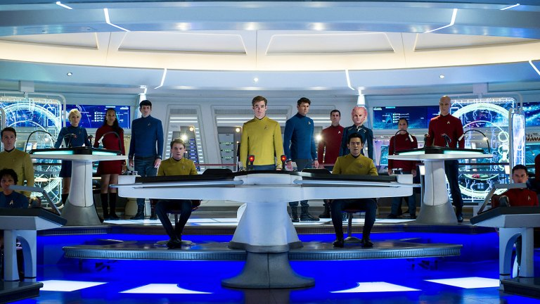 The crew of the Enterprise on the bridge in 2009's Star Trek