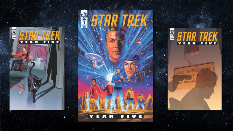 Three covers from the comic book series Star Trek: Year Five