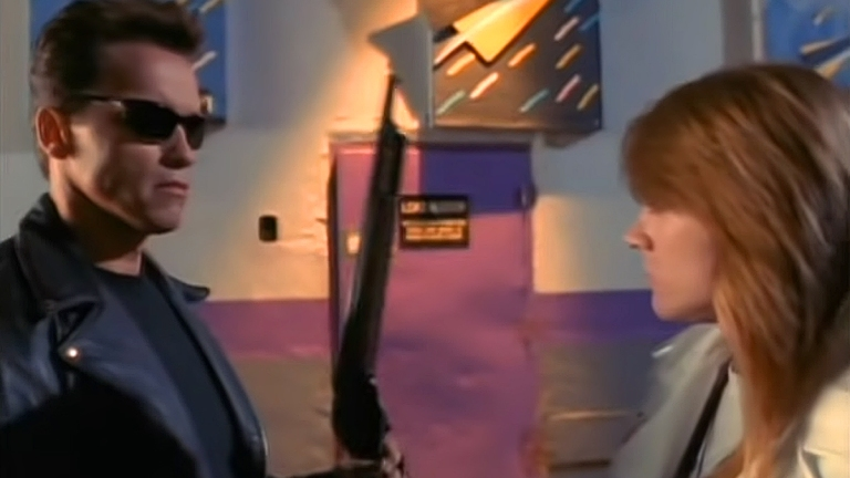 """Arnold Schwarzenegger and Axl Rose in the Terminator 2 """"You Could Be Mine"""" video."""
